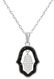 Sterling Silver Double Hamsa Necklace