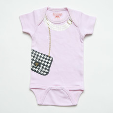 Pink Onesie With Houndstooth Purse