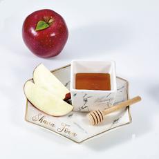 Hexigonal Porcelain Honey and Apple Set