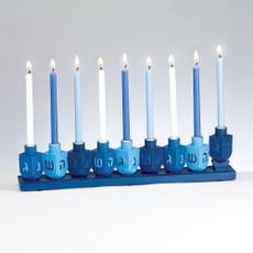 Blue Dreidels Galore Menorah