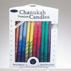 Striped Hand Dipped Rainbow Chanukah Candles