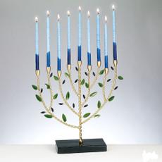 Olive Tree Design Metal Chanukah Menorah