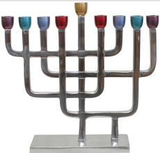 Modern Menorah With Multi-Color Candle Holders