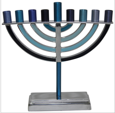Classic Shaped Metal & Enamel Menorah