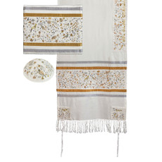 "Emanuel Embroidered ""Garden Of Eden"" Gold Matriarchs Tallit Set"