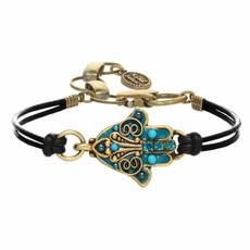 "Michal Golan ""Ornate Turquoise"" & Gold Hamsa Necklace"
