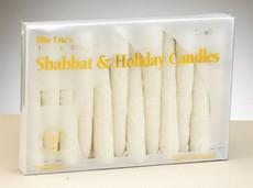 Premium White Frosted Shabbat Candles
