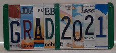 """""""Grad 2021"""" Recycled License Plate Sign"""