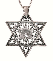 Sterling Silver Chai Within A Star Necklace