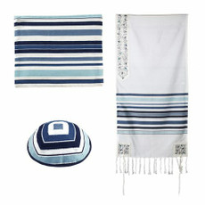 Emanuel Woven With Blue Stripes And Pomegranate Accents