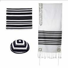 Emanuel Woven With Black Stripes and Jerusalem Motif Accents