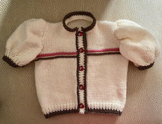 Handknit Cream/Pink Cardigan With Pomegranate Buttons & Back Applique