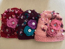 Handknit Raspberry, Purple, Or Pink Hat With Lucite Domed Buttons