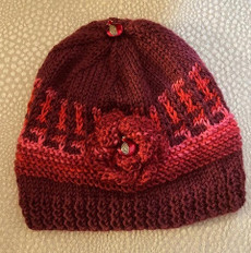 Handknit Red Hat With Flower and Enameled Pomegranate Buttons