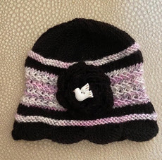 Handknit Black and Pink Hat with Flower and Dove Button