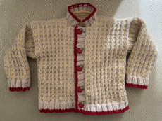 Handknit Cream/Yellow/Red Cardigan With Apple Buttons & Back Applique
