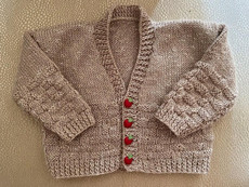 Handknit Taupe Tweed Cardigan with Apple Buttons & Back Applique