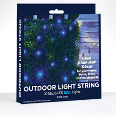Outdoor Chanukah Light String with 20 Micro LED Blue Lights