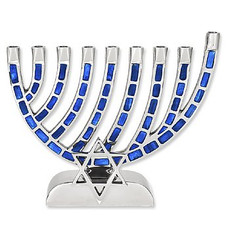 Blue Enamel Mosaic Menorah