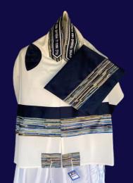 Michal Blue/Multicolor Stripe Tallit Set