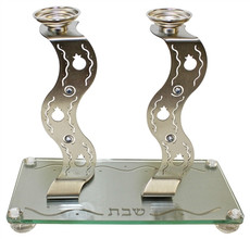 Stainless Steel Laser Cut Candlesticks and Tray.