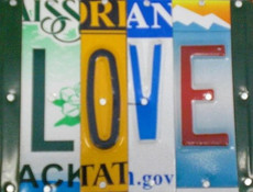 """Love"" License Plate Sign"