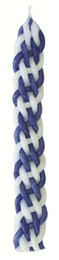 Blue and White Checkerboard Flat Havdalah Candle
