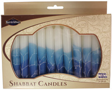 Safed White with Teal and Blue Shabbat Candles