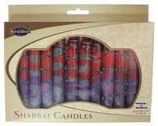Safed Purple, Maroon and Red Sunrise Shabbat Candles