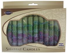 Safed Green and Purple Sunrise Shabbat Candles
