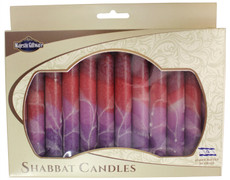 Safed Maroon, Red and Lavender Fantasy Shabbat Candles