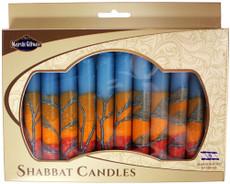 Safed Turquoise, Orange and Red Harmony Shabbat Candles