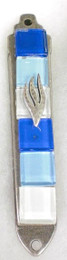 Multicolor Glass and Metal Mezuzah