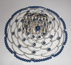 Navy Blue Beaded Wire Head Covering