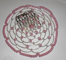 Pink Beaded Wire Head Covering