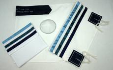 Tel Aviv Tri-Toned Blue Tallit Set