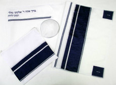 Har Halutz Blue and Silver Tallit Set