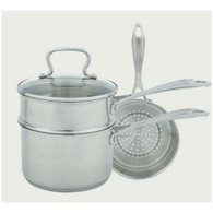 Range Clean Specialty 3 Quart Covered Sauce Pan with Double Boiler and Steamer Insert