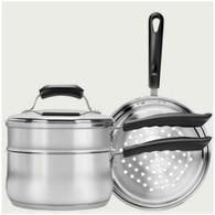 Range Kleen Basics 3 Quart Covered Sauce Pan with Double Boiler & Steamer Insert
