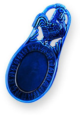 Old Dutch French Country Rooster Spoon Rest in Blue