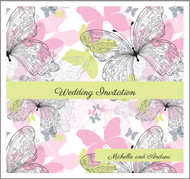Sparkling Butterflies Double Sided Invitations
