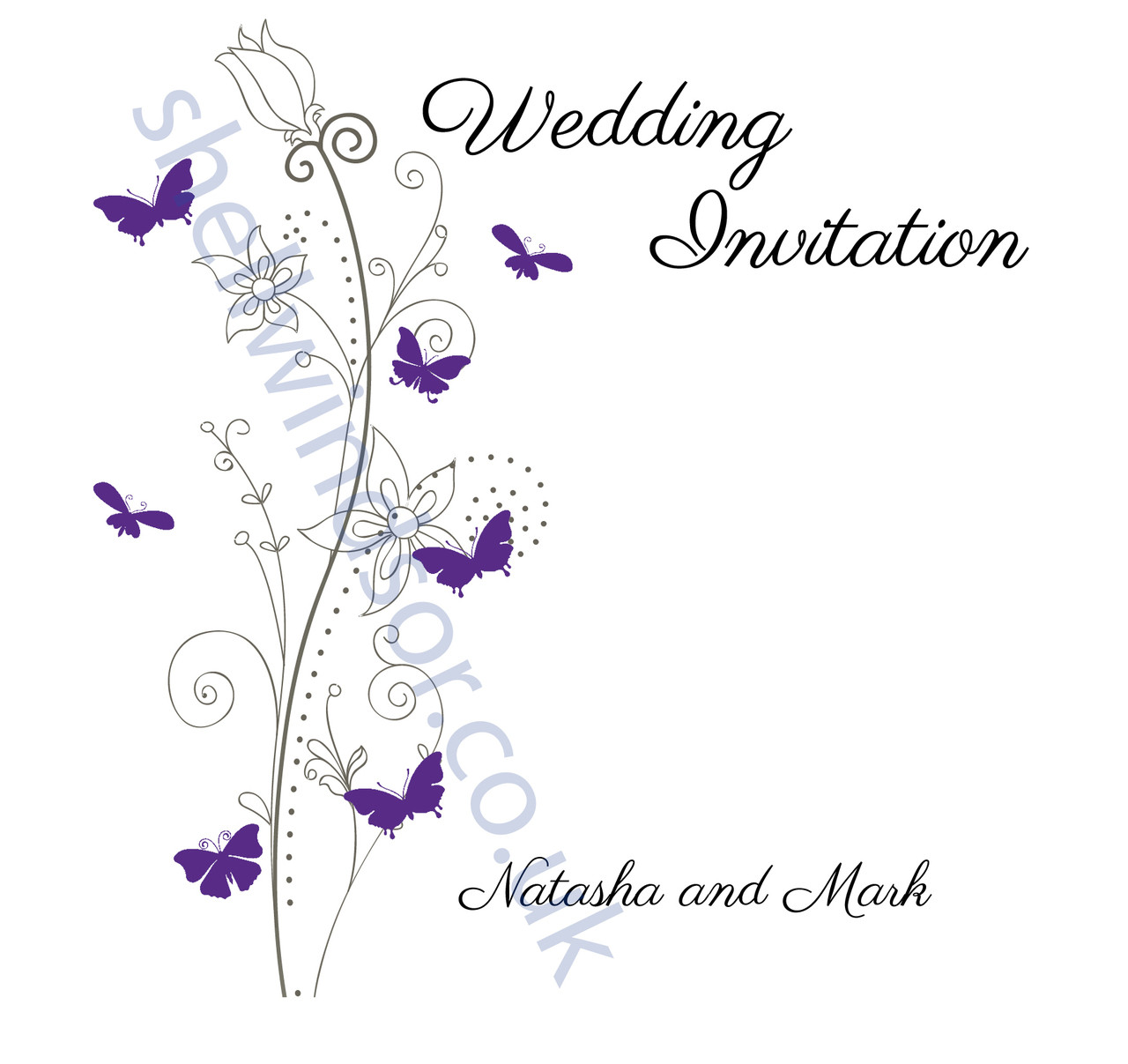 Purple Butterfly Double Sided Wedding Invitations
