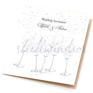 Champagne Celebration Sidefold Wedding Invites