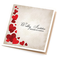 Grunge Heart Sidefold Wedding Invitations