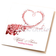 Heart Swirl Sidefold Invitations (any colour)