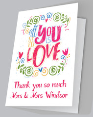All you need is Love Thank you cards