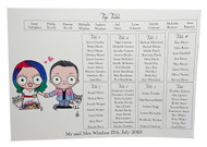 Couple Portrait: A3 Table Plan on Card