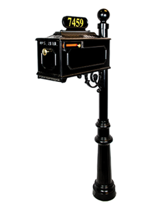 "Greenleaves - Georgetown System (MB 8 with Knob, Ball Finial, 3"" Post, Plate 8, Charleston Bracket, Fluted Base, 2"" Gold Vinyl Numbers TNR)"