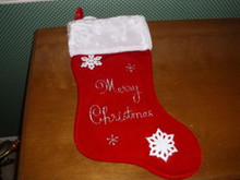 "KURT ADLER -20.5"" CHRISTMAS STOCKING-RED & WHITE-MERRY CHRISTMAS-NEW"