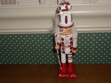 "KURT ADLER 6"" WOODEN RED/WHITE GIFT BOX HAT NUTCRACKER ORNAMENT-NEW"